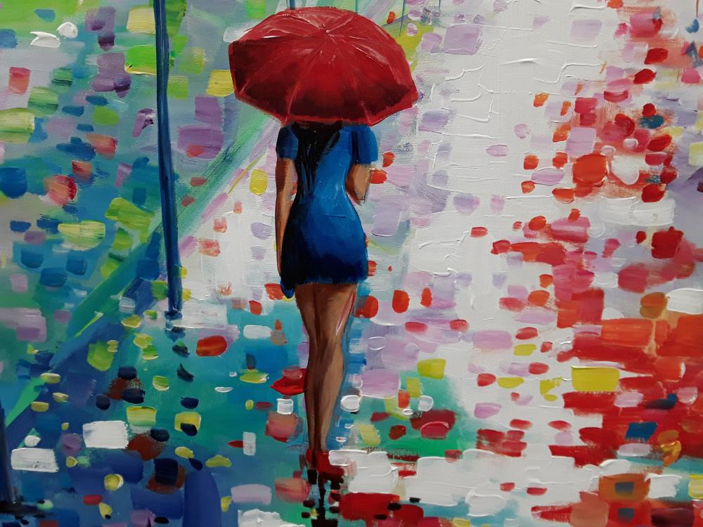 "Redis Ranxa's ""Rainy Day Stroll"" Original Acrylic Painting on Canvas"
