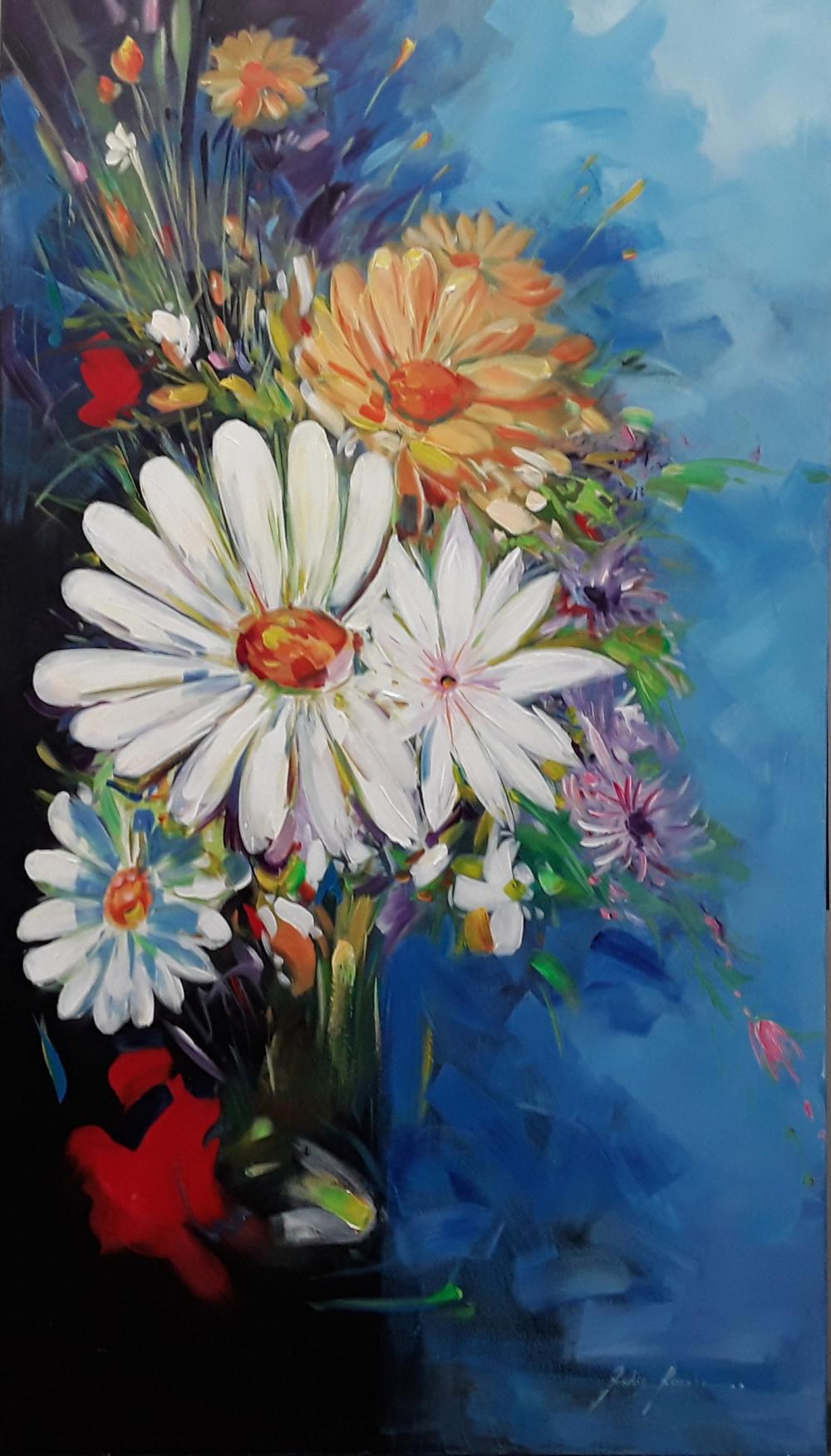 "Redis Ranxa's ""Floral 3"" Original Acrylic Painting on Canvas"