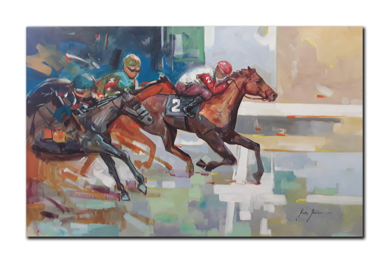 "Redis Ranxa's ""The Race"" Original Acrylic Painting on Canvas"
