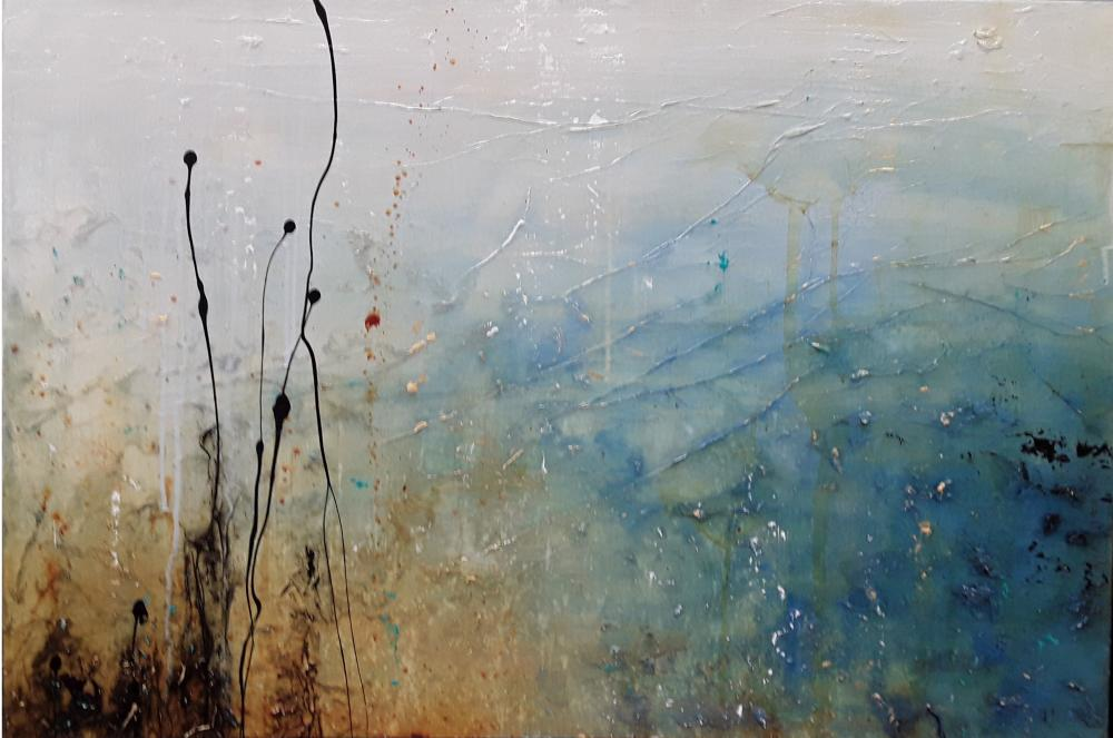"""Laura Harris's """"Their Time To Go"""" Original Mixed Media on Canvas Painting"""