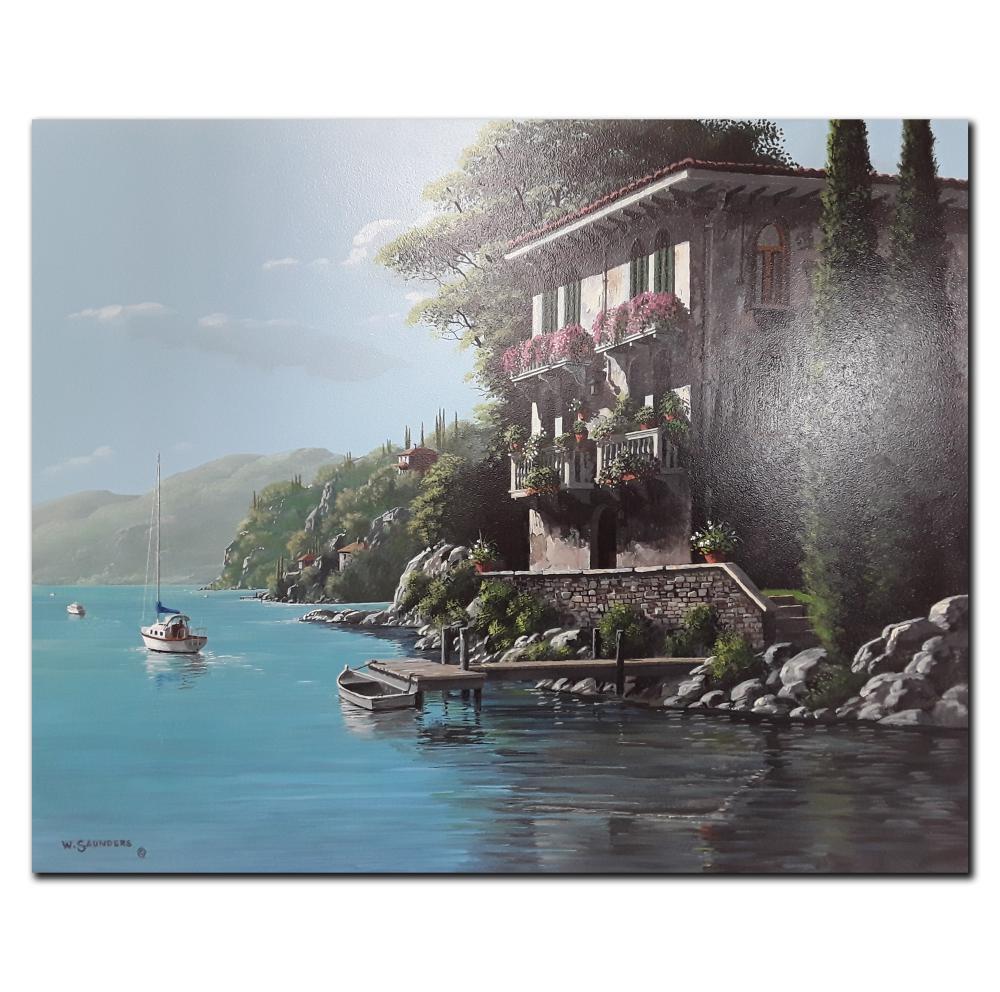 "Bill Saunders' ""Seaside Villa"" Original Acrylic on Masonite Painting"