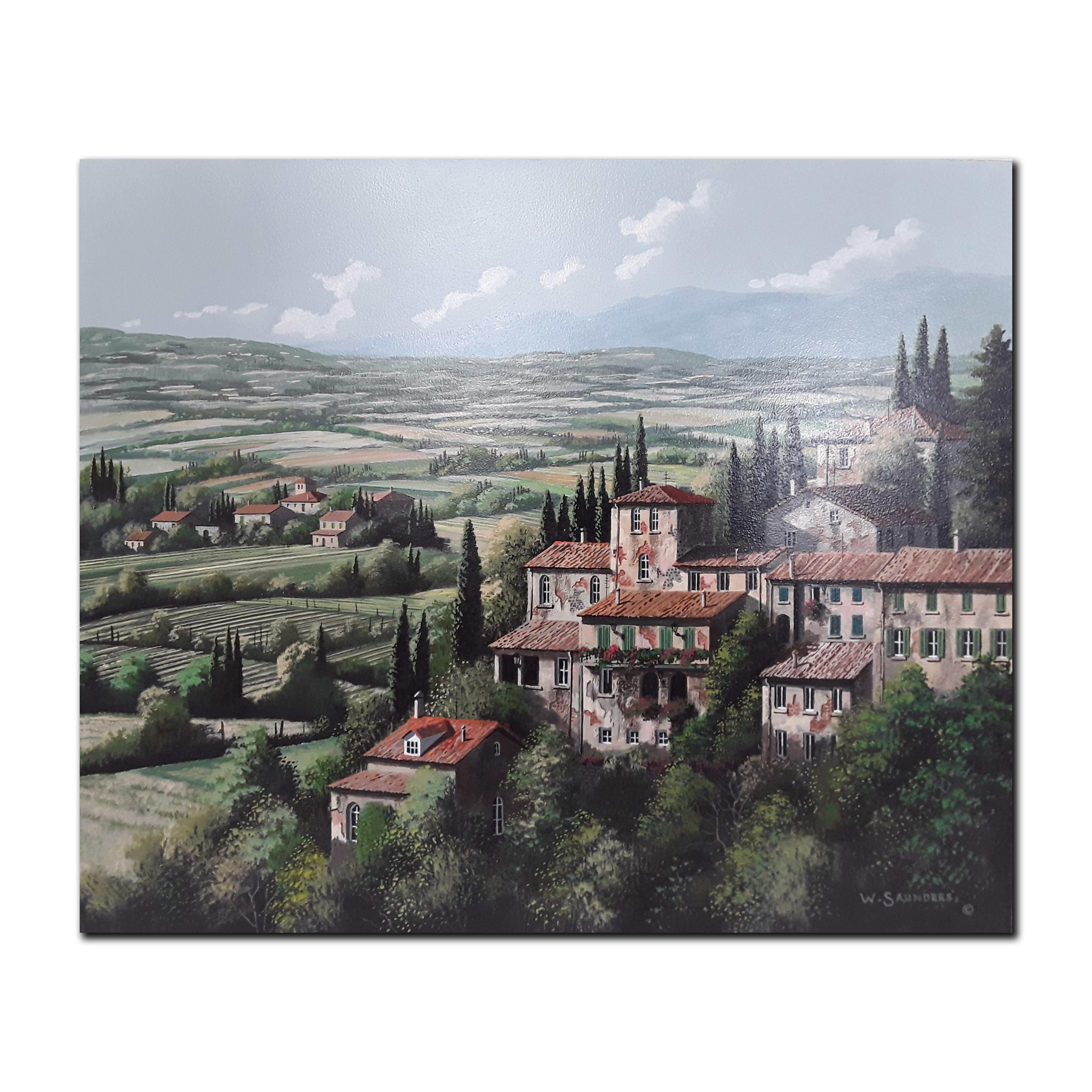 "Bill Saunders' ""Cypress And Old Stone"" Original Acrylic on Masonite Painting"