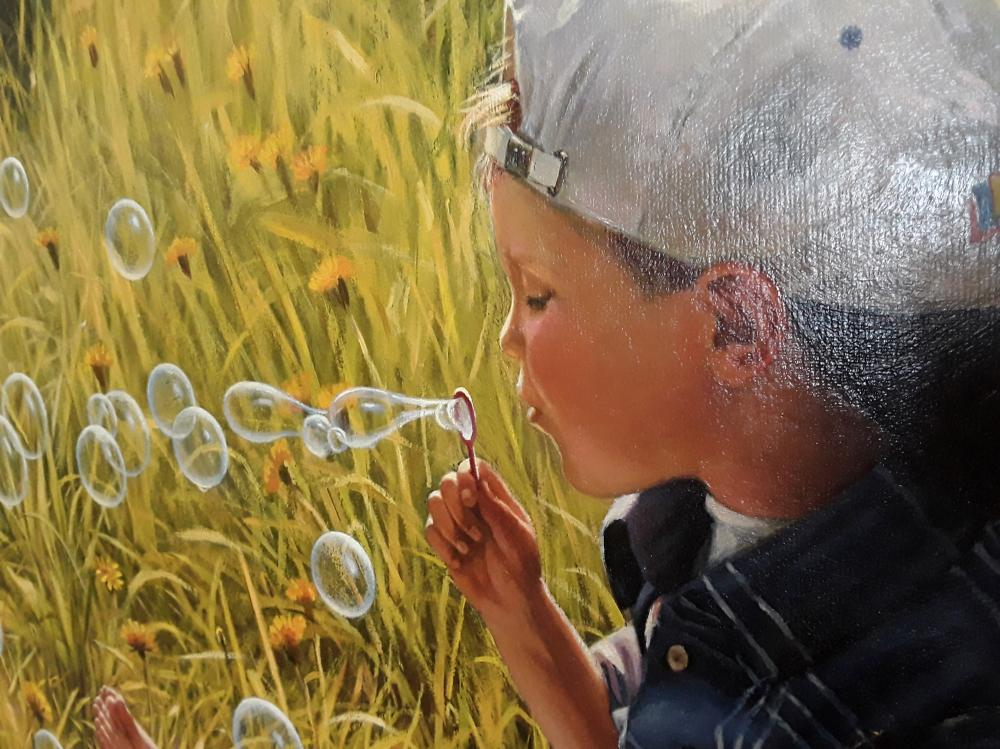 """S Idanovich's """"Blowing Bubbles In The Grass"""" Framed Original Acrylic on Canvas"""