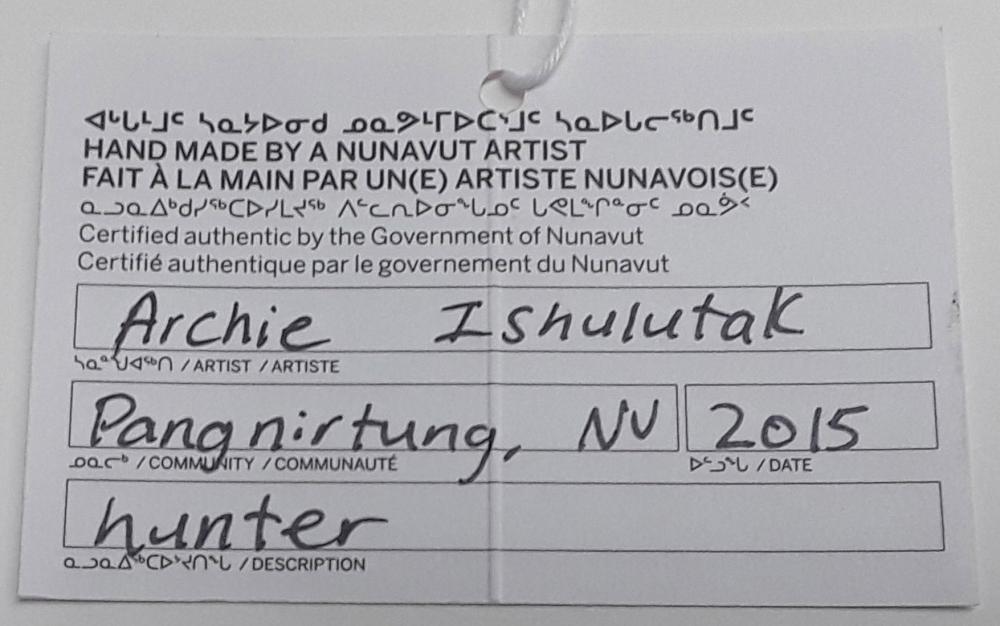 """Archie Ishulutak's """"Hunter"""" Original Inuit Carving"""