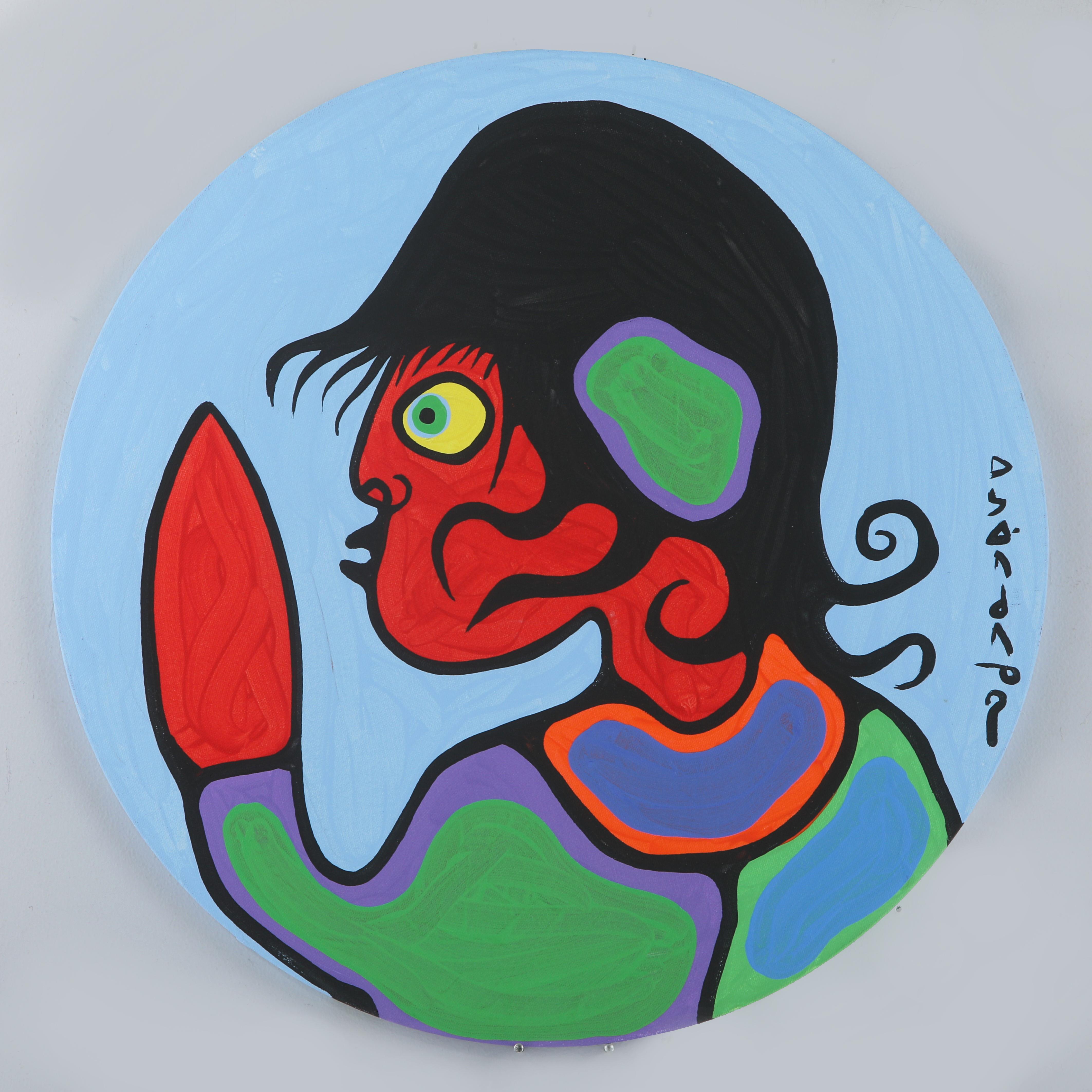"""Norval Morrisseau's """"Child Portait Blue"""" Original"""