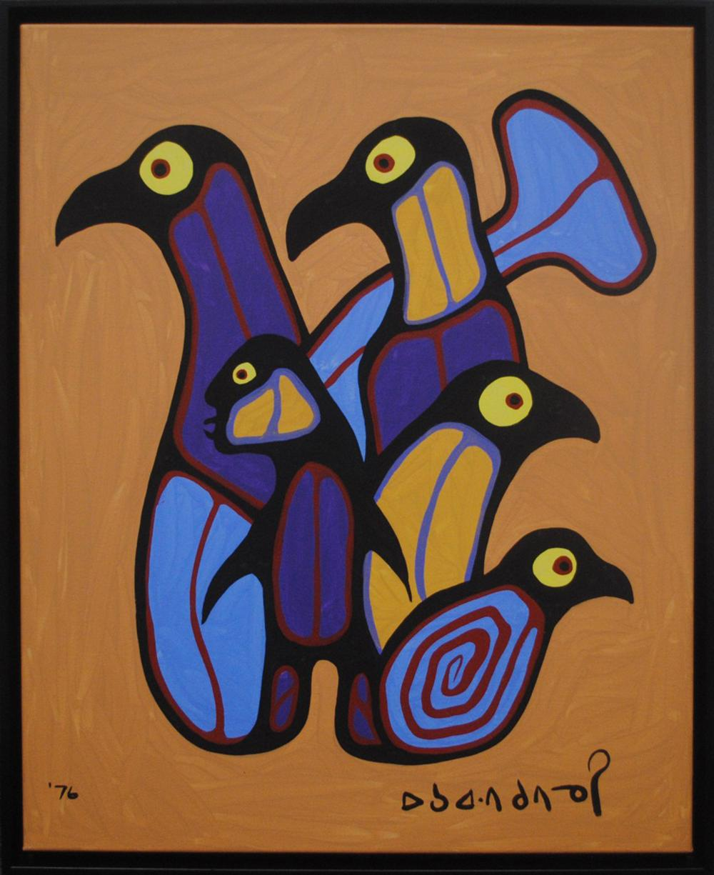 """Norval Morrisseau's """"Man, Loons and Fish Transformation"""" Original"""