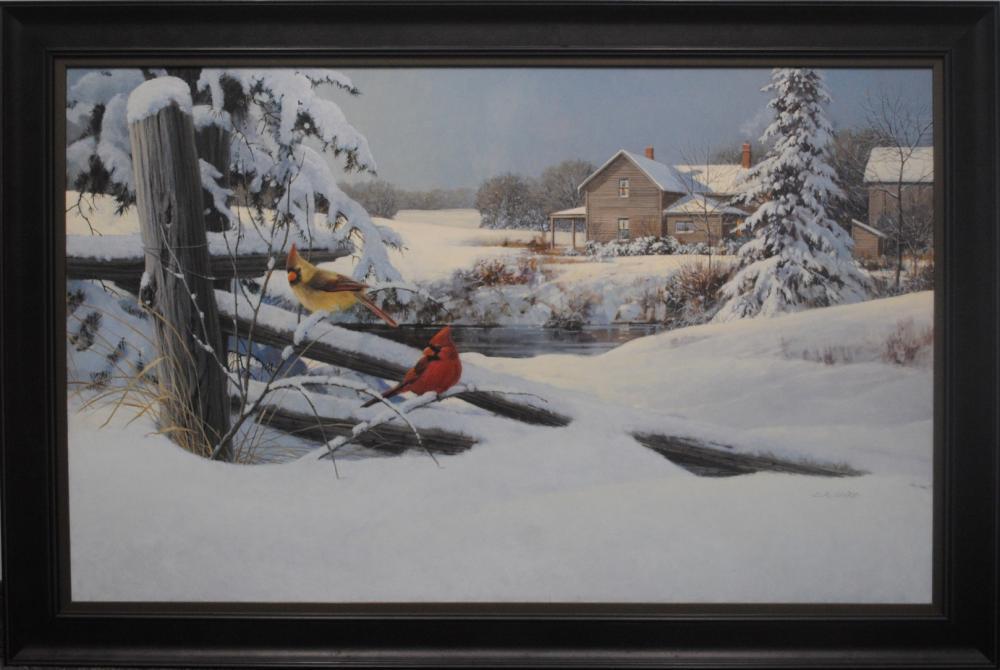 """Doug Laird's """"Cardinal Pair in Winter"""" Original"""