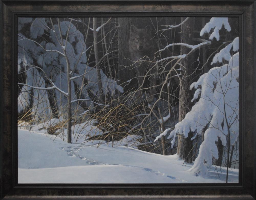 "Doug Laird's ""Black Wolf in Winter"" Original"