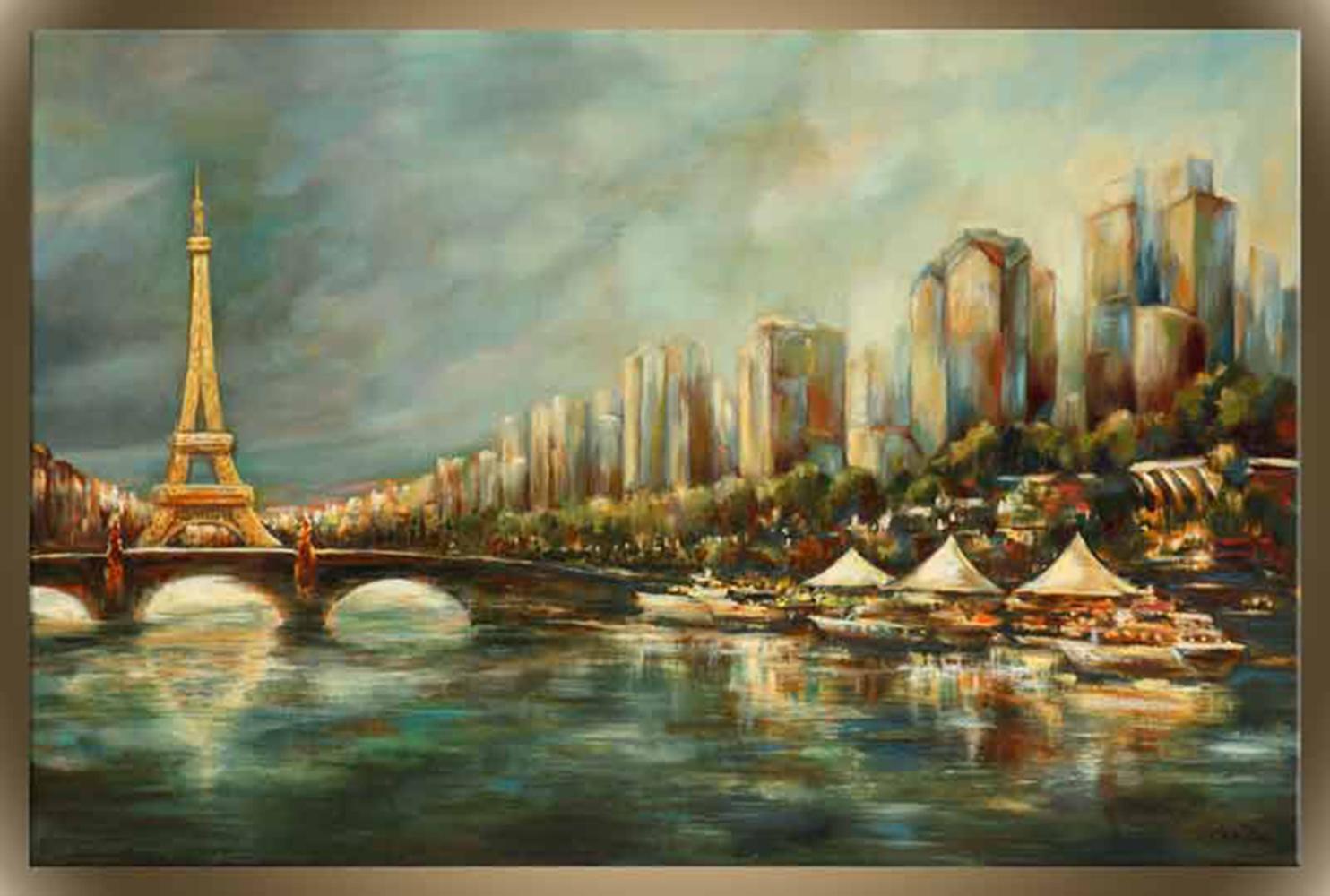 "Victor Zag's ""Paris a La Seine"" Giclee Canvas Reproduction"