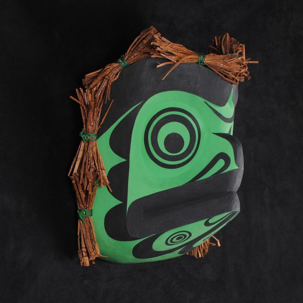 """Thomas Bruce's """"Frog"""" Original Wooden Carved Mask"""