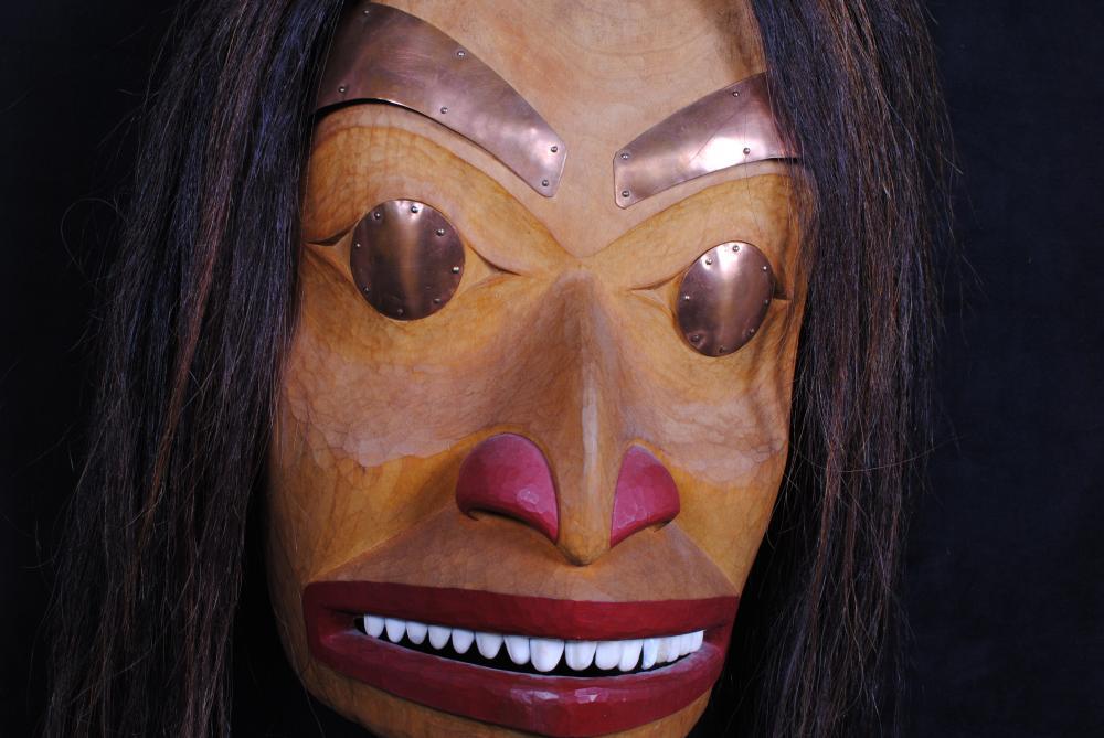 """Jerry Sheena's """"Portrait"""" Original Wooden Carved Mask"""