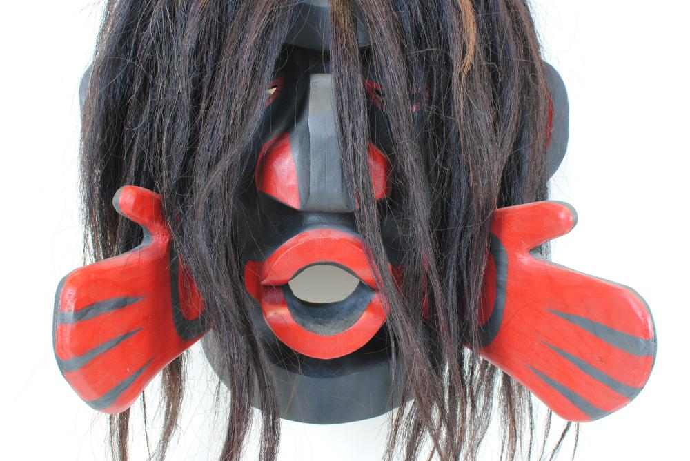 """Vincent Shaugnessy's """"Dzunukwa (Wild Woman)""""Carved Mask"""
