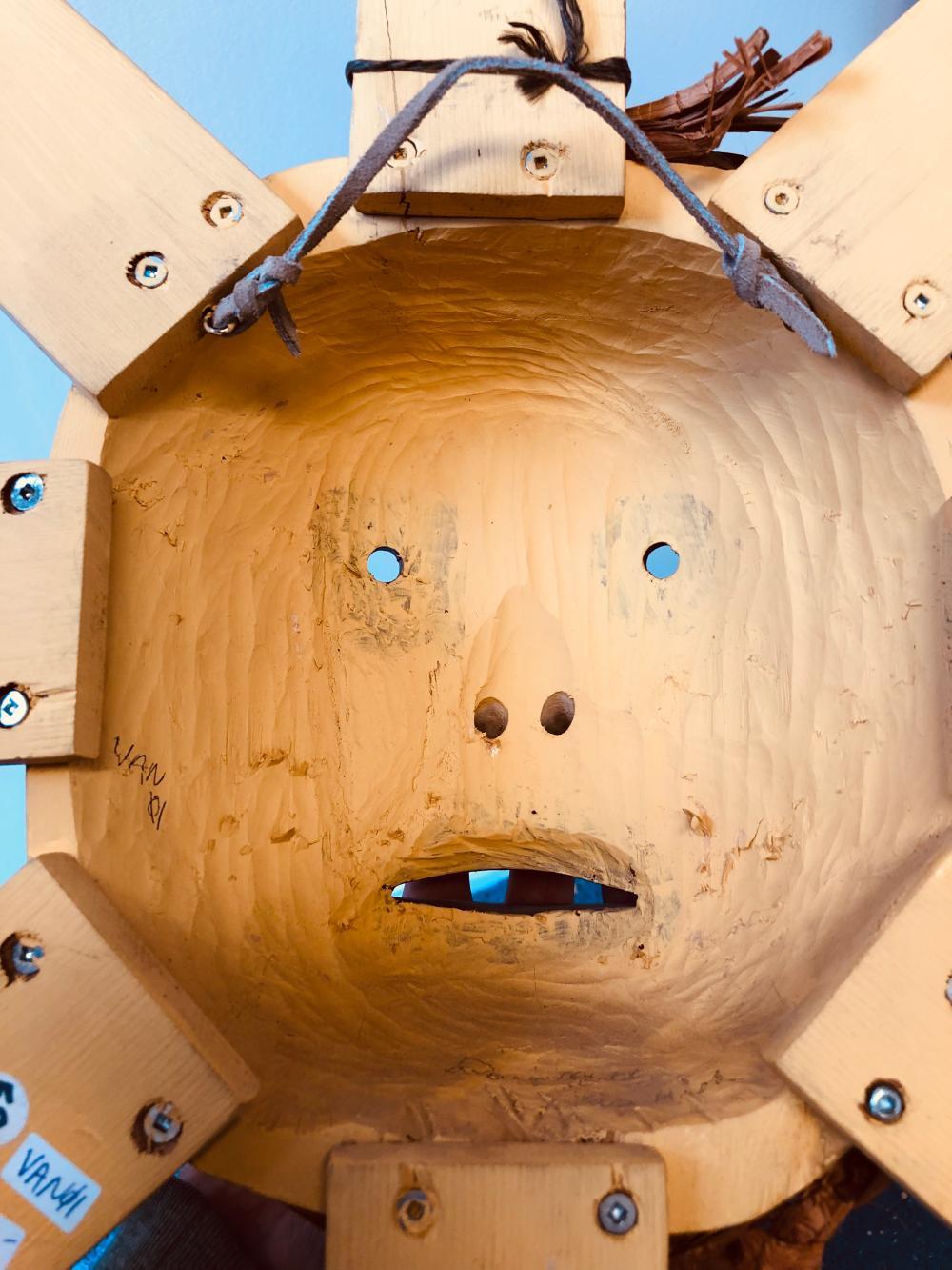 """Doug Martel's """"Sun"""" Original Wooden Carved Mask"""