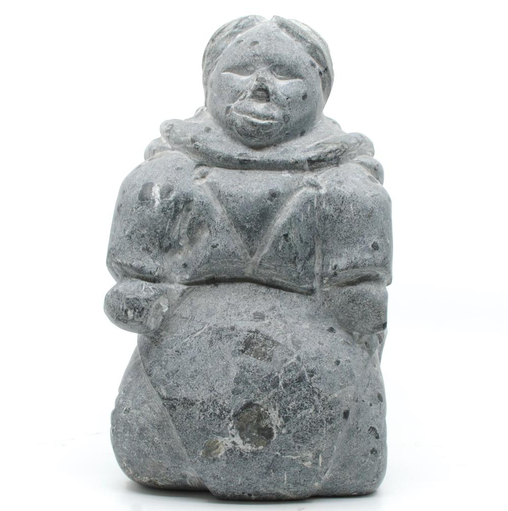 """Salamonie Pootoogook's """"Mother and Child"""" Inuit Carving"""