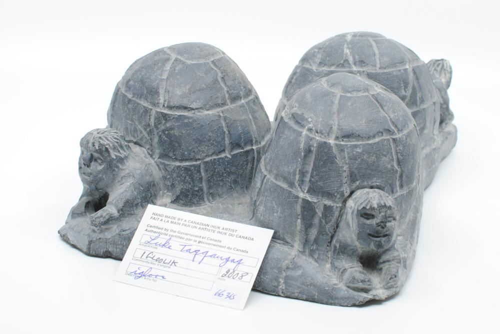 "Luke Taqqaugaq's ""Igloos"" Original Inuit Carving"