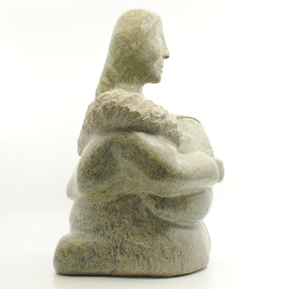 "Elijah Michael's ""Mother and Child"" Org. Inuit Carving"