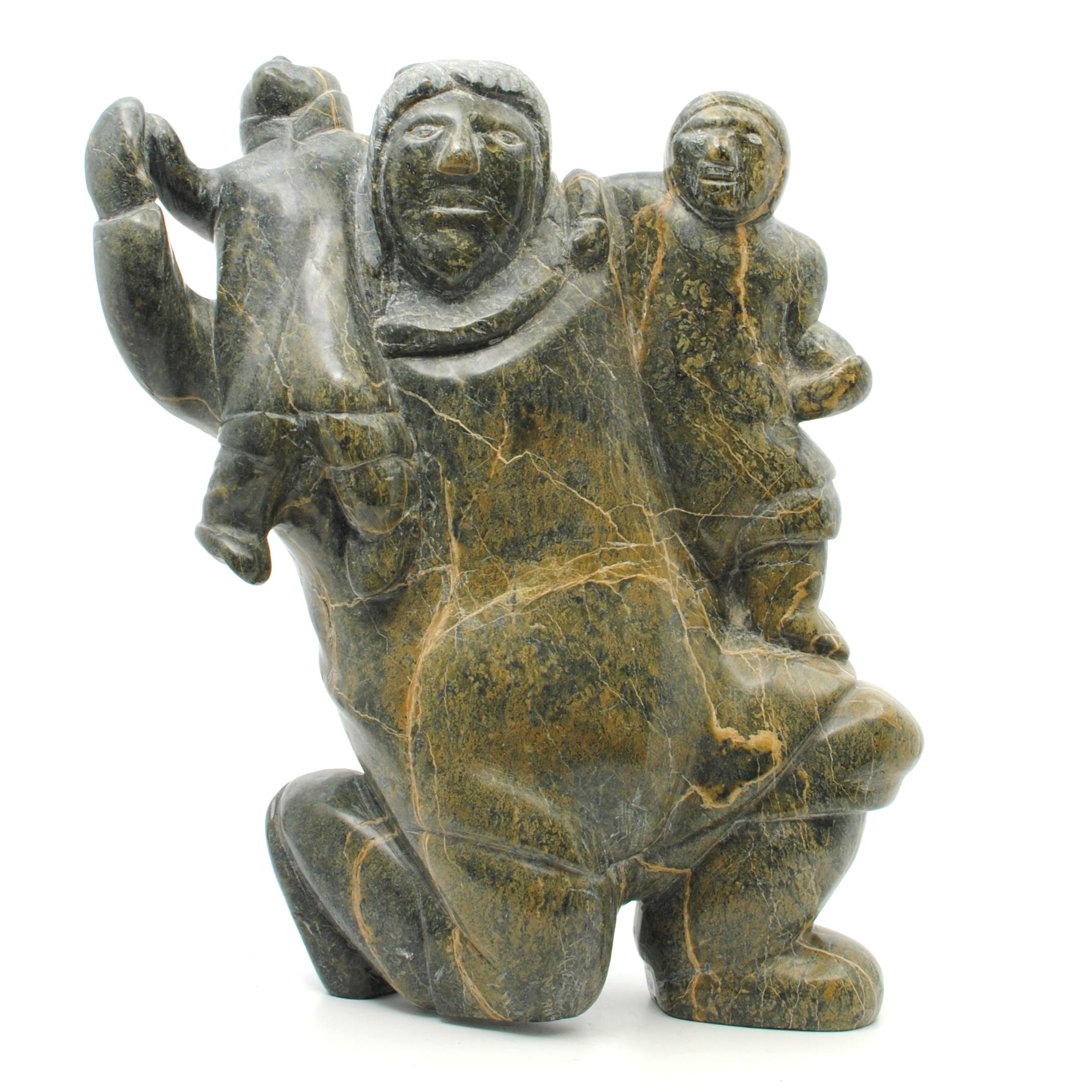 """Simeonie Killiktee's """"Mother and Child"""" Inuit Carving"""
