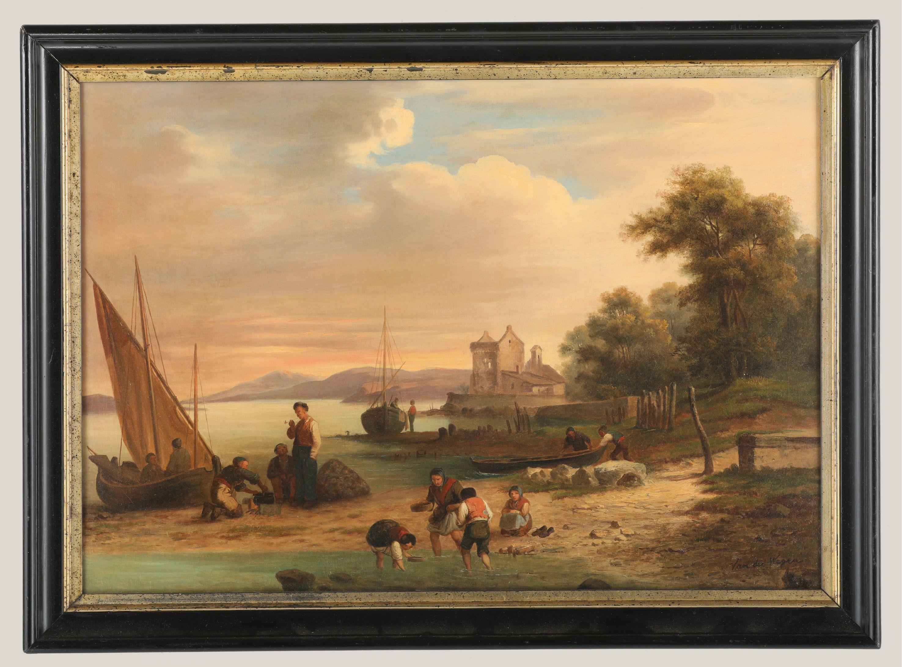"Francis Van der Weegen's ""Seaside With Fisherfolk"" Original"