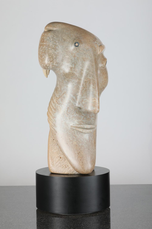 """David Ruben Piqtoukun's """"The Hunter's Dreams"""" Original Brazillian Soapstone Sculpture"""