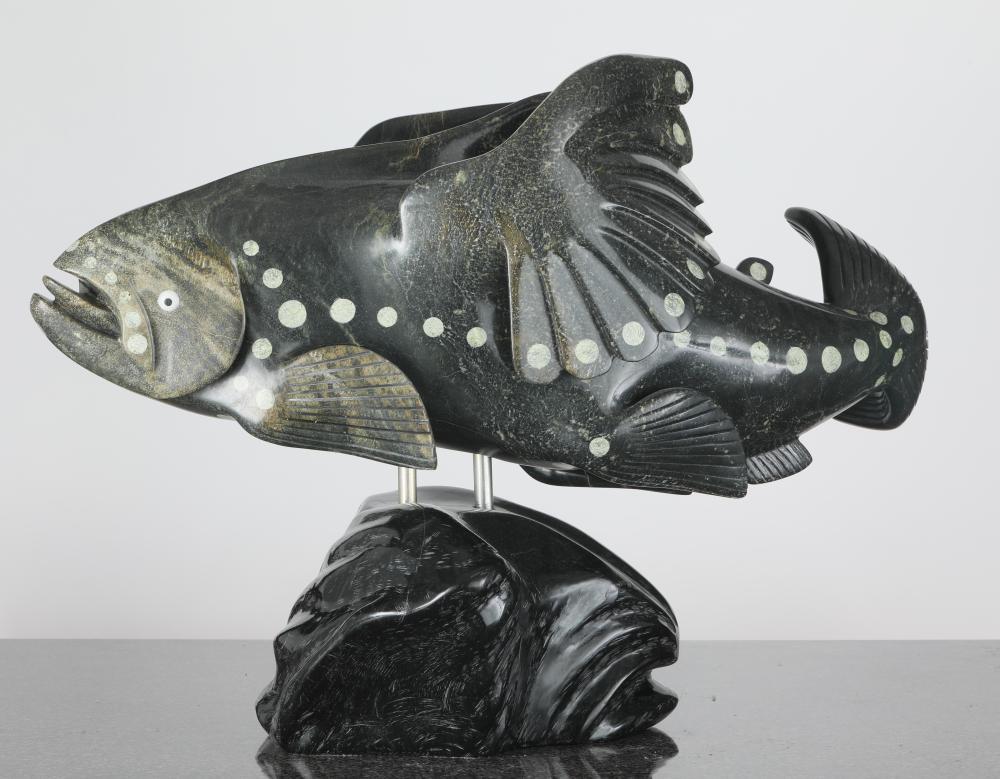 "Toonoo Sharky's ""Spirit Fish"" Original Serpentine Sculpture"