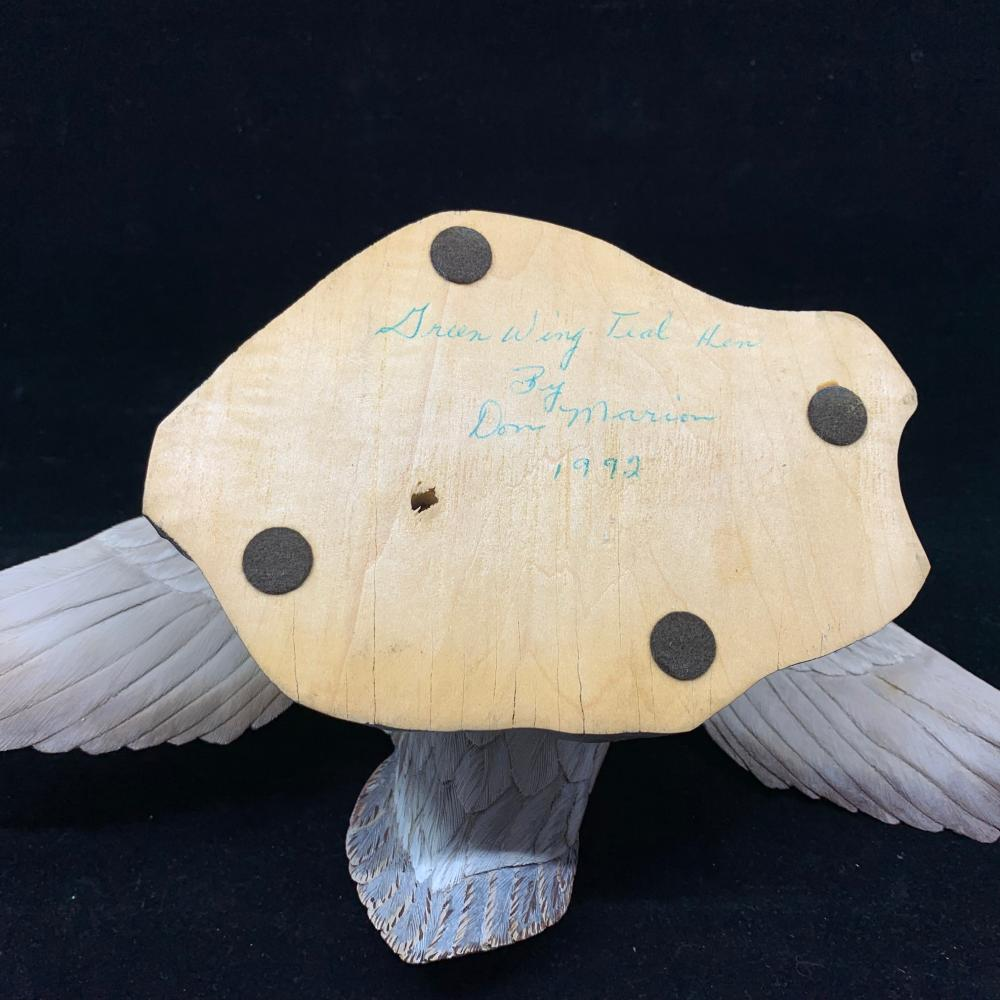 """Don Marion's """"Green Wing Teal Hen"""" Original Hand Carved Duck Decoy"""