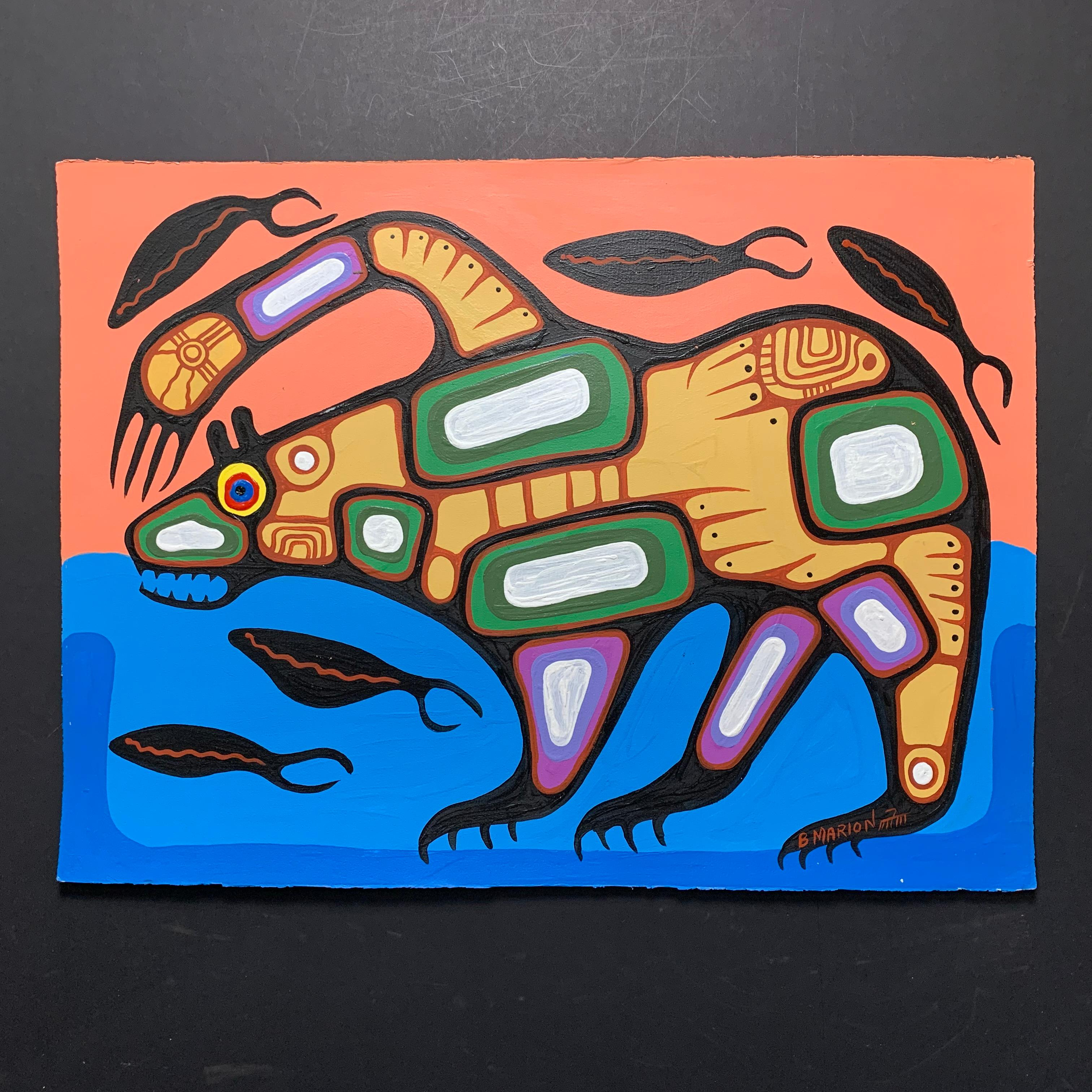 "Brian Marion's ""Bear and Fish"" Original"