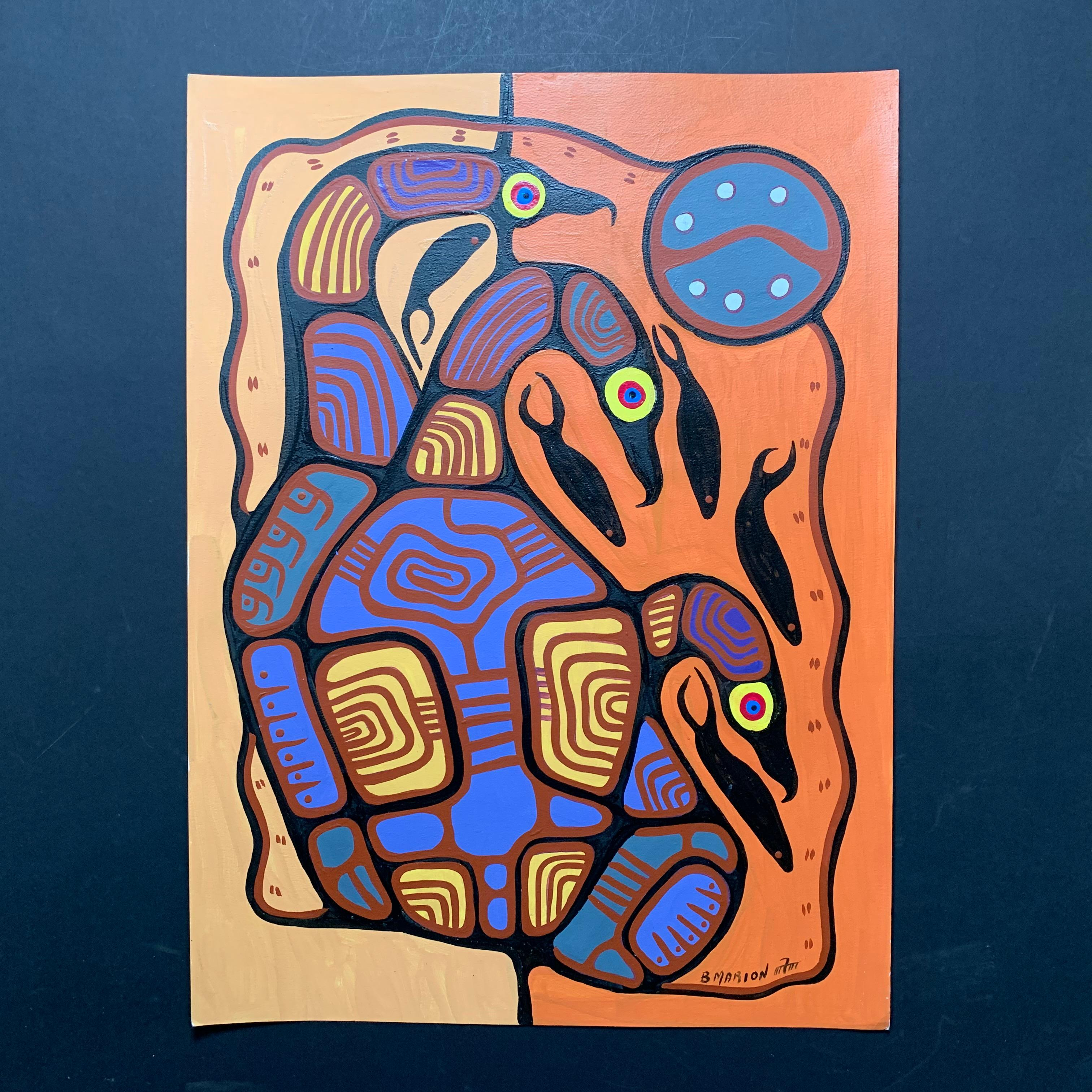 """Brian Marion's """"Loons and Fish Unity"""" Original"""