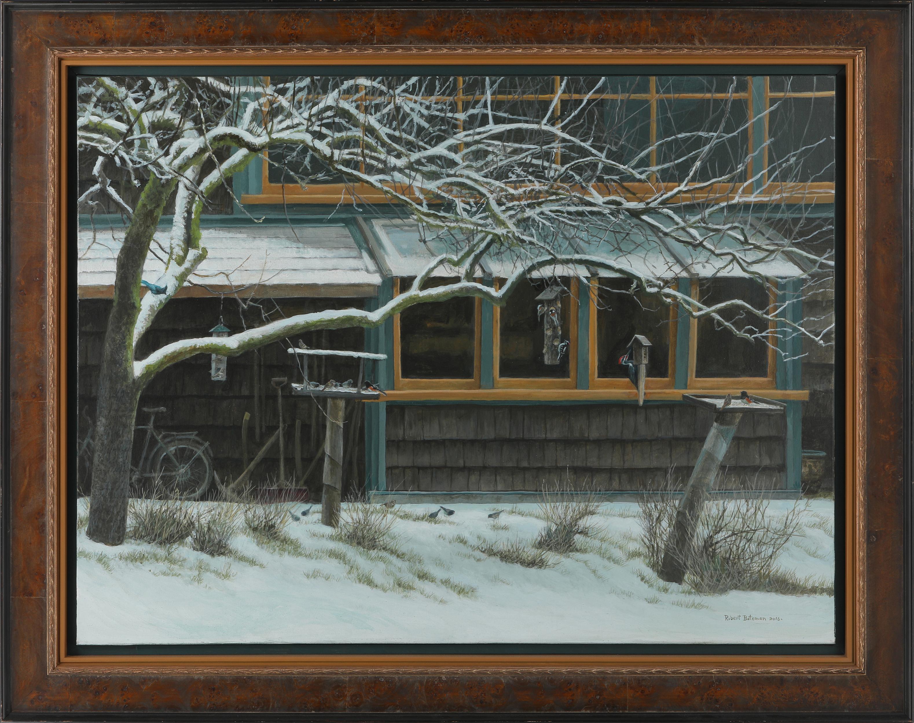 """Robert Bateman's """"Birdfeeders"""" Original Painting"""