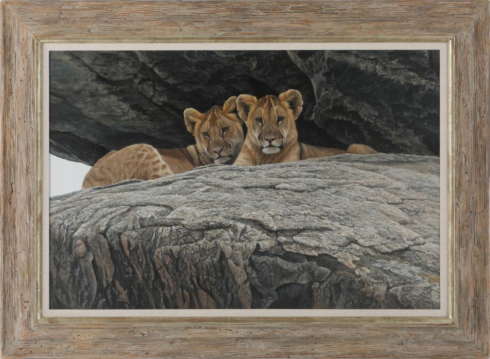 """Robert Bateman's """"Lion Cubs"""" Original Painting"""