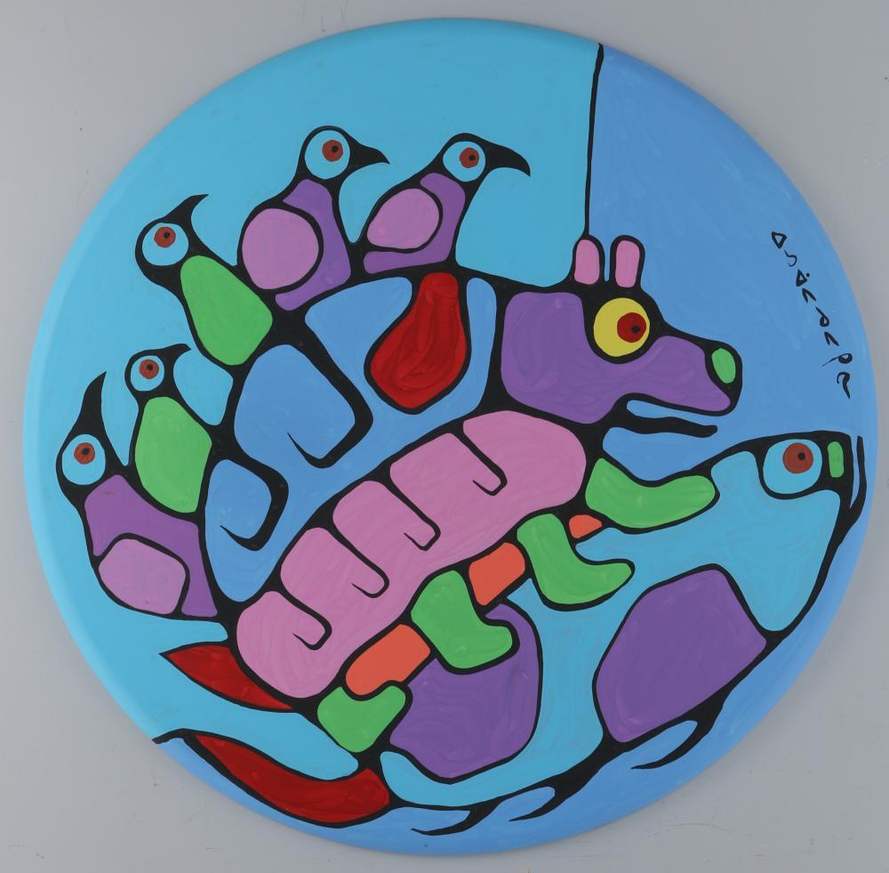 "Norval Morrisseau's ""Spirit Birds,Spirit Bear and Spirit Fish - Connected"" Original Acrylic on Canvas"