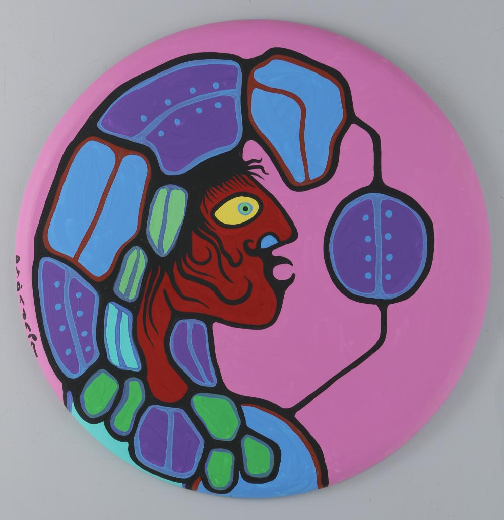 """Norval Morrisseau's """"Shaman With Headdress - Connected"""" Original Acrylic On Canvas"""
