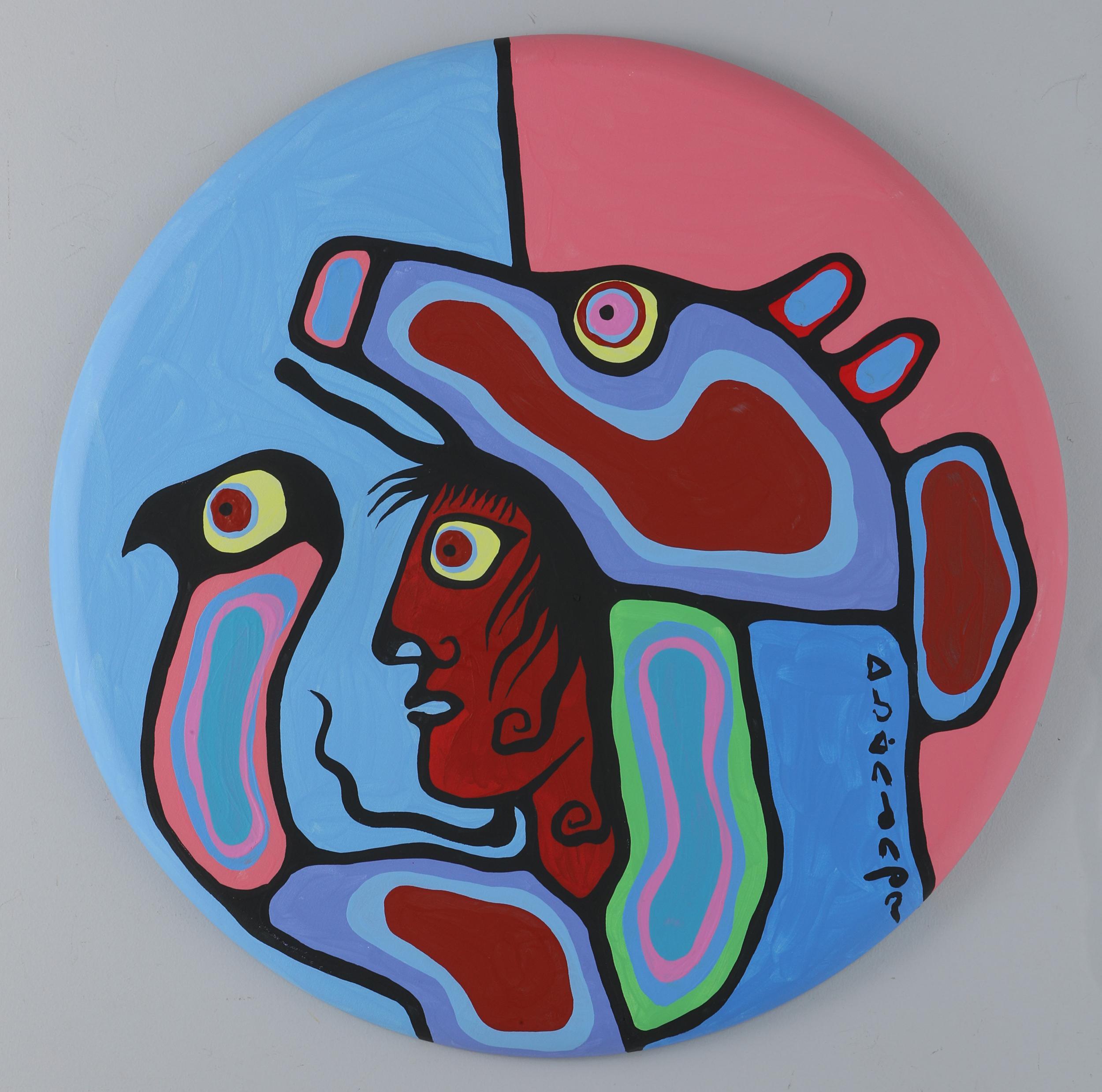 "Norval Morrisseau's ""Shaman With Bear Headdress"" Original Acrylic On Canvas"