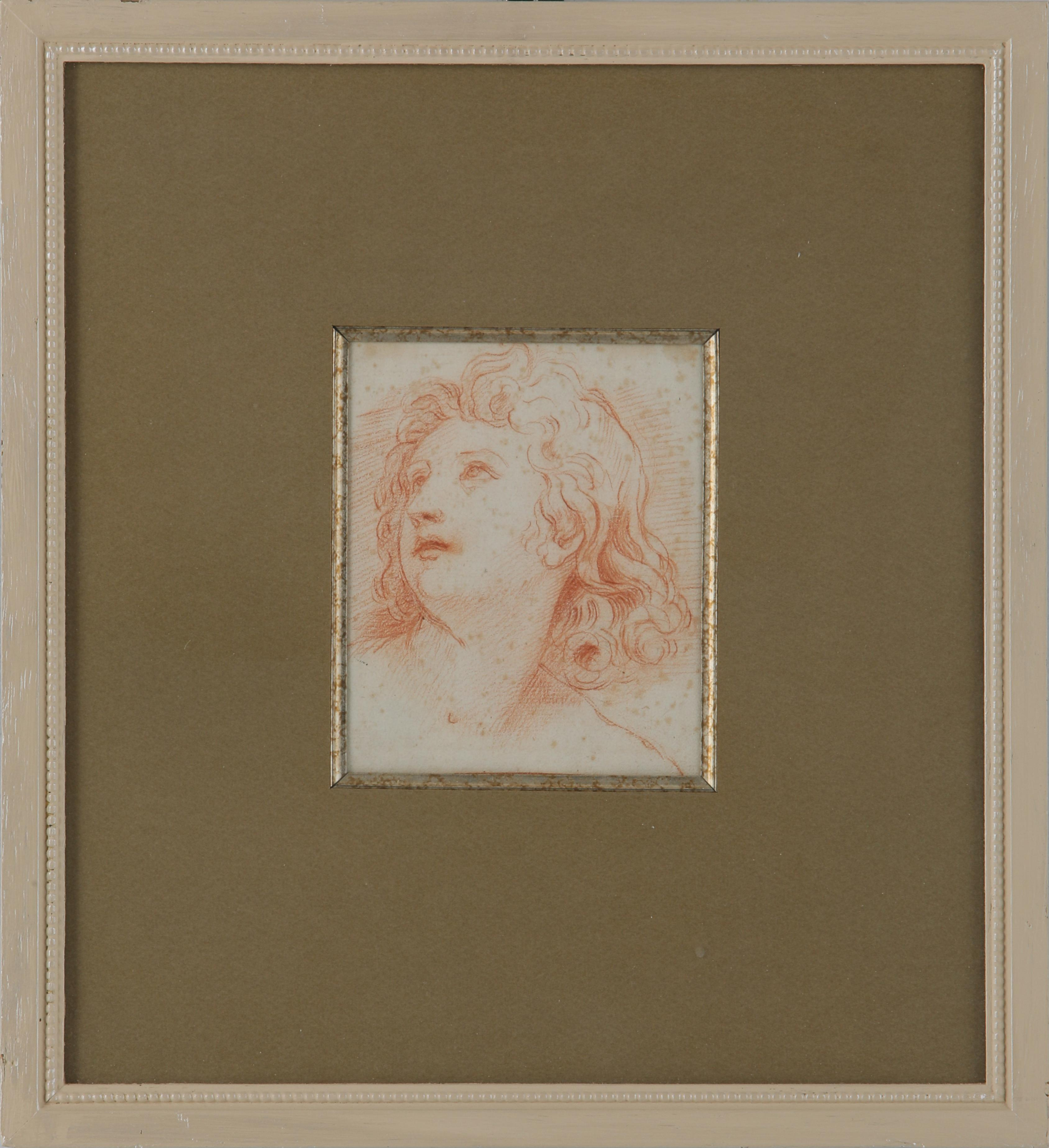 "Carlo Maratta (1625-1713) ""Head of a Young Man"" Original Renaissance Drawing"