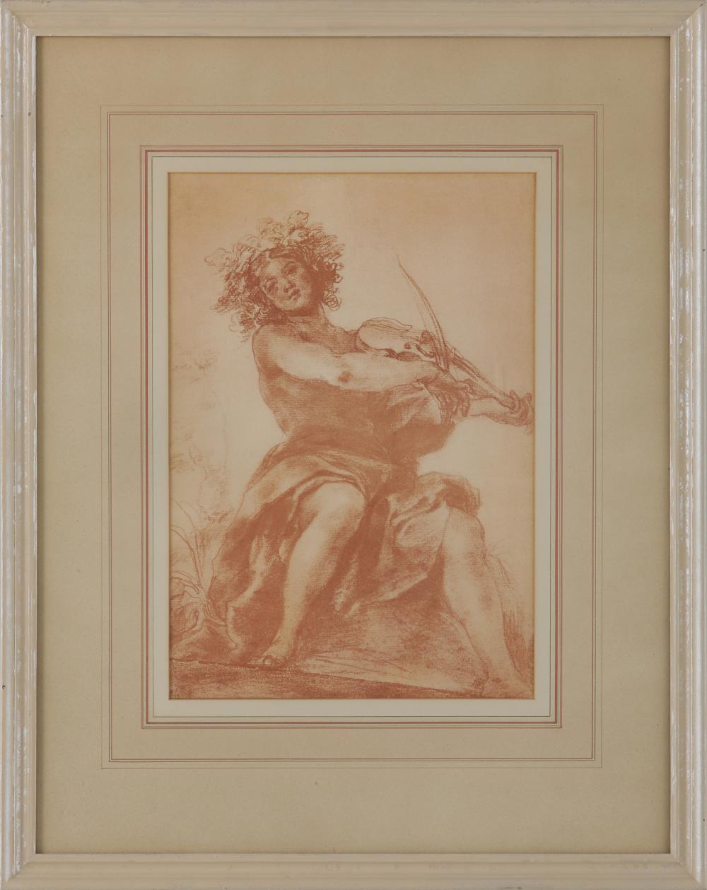 """Giovanni da San Giovannii (1592-1636) """"Un Suona Tore Di Violino"""" Original Renaissance Drawing"""
