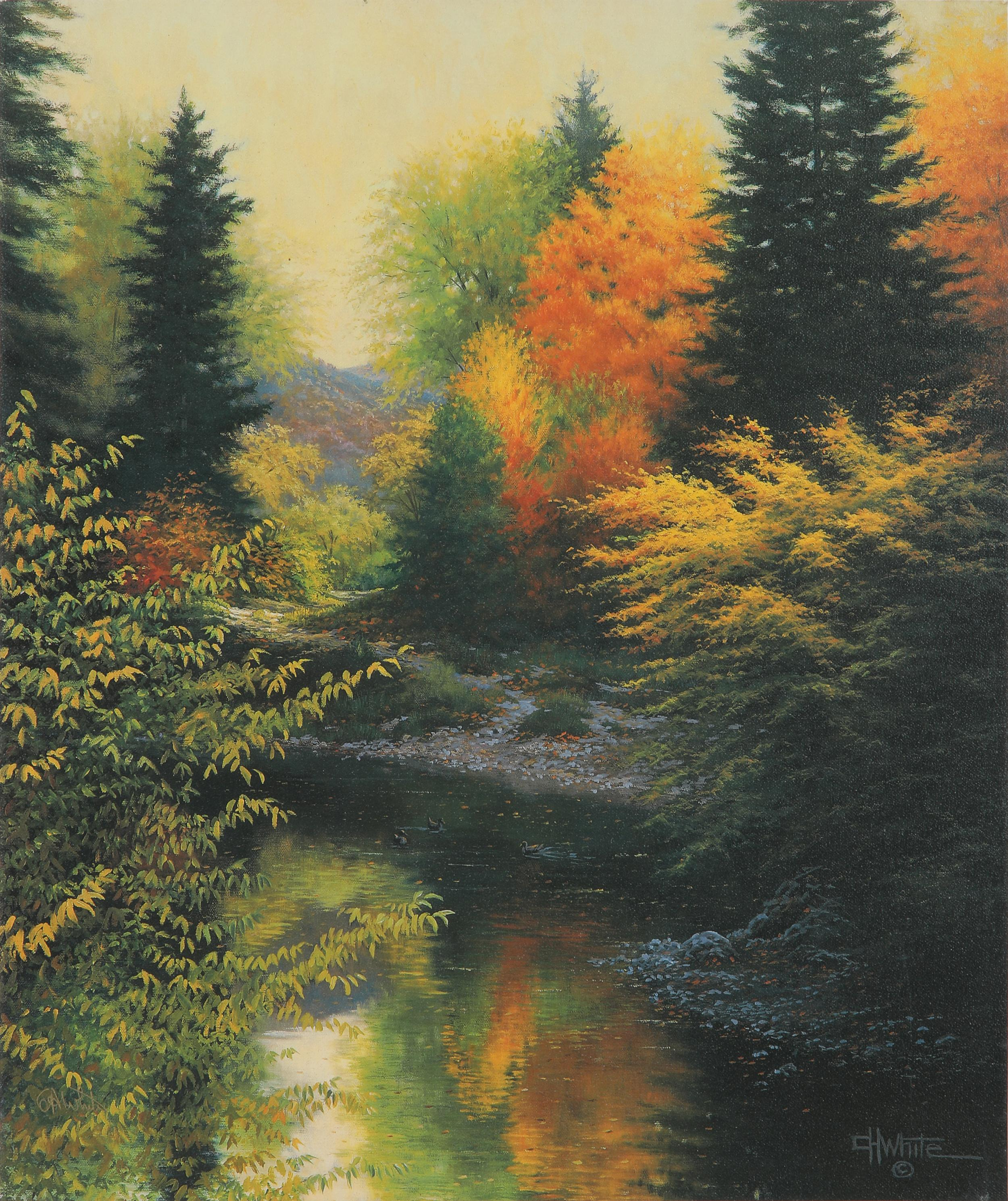 """Charles H. White's """"Stillwaters"""" Signed Canvas"""