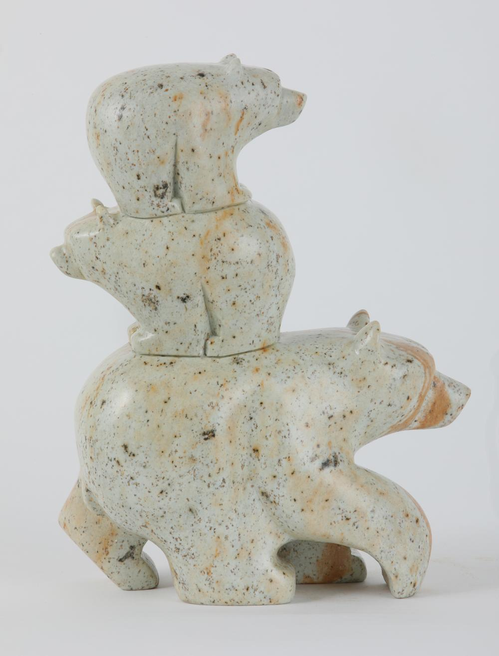 """Leroy Henry's """"Bear and Cubs"""" Original Carving"""