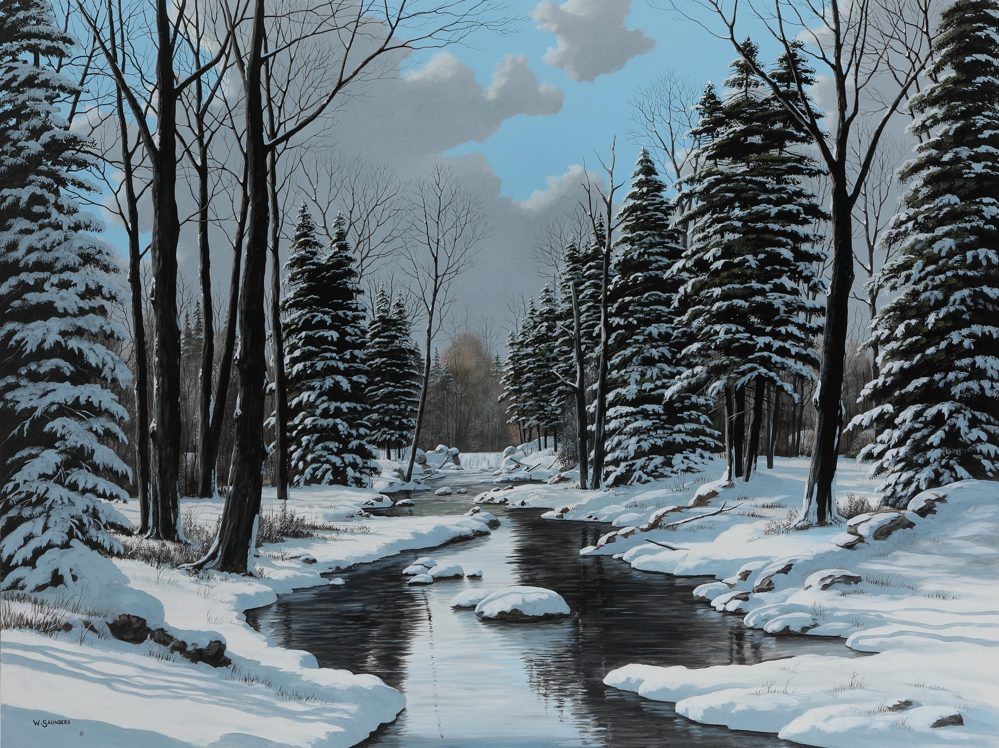 "Bill Saunders' ""Winter Waterfall"" Original"