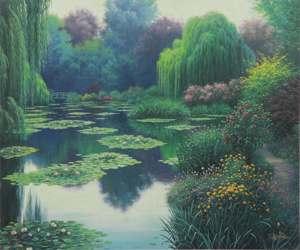 """Charles H. White's """"Morning Mist - Giverny"""" Signed Canvas"""