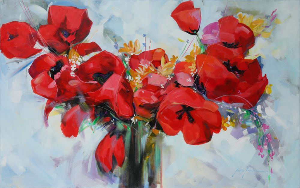 "Redis Ranxha's ""Red Flowers"" Original"