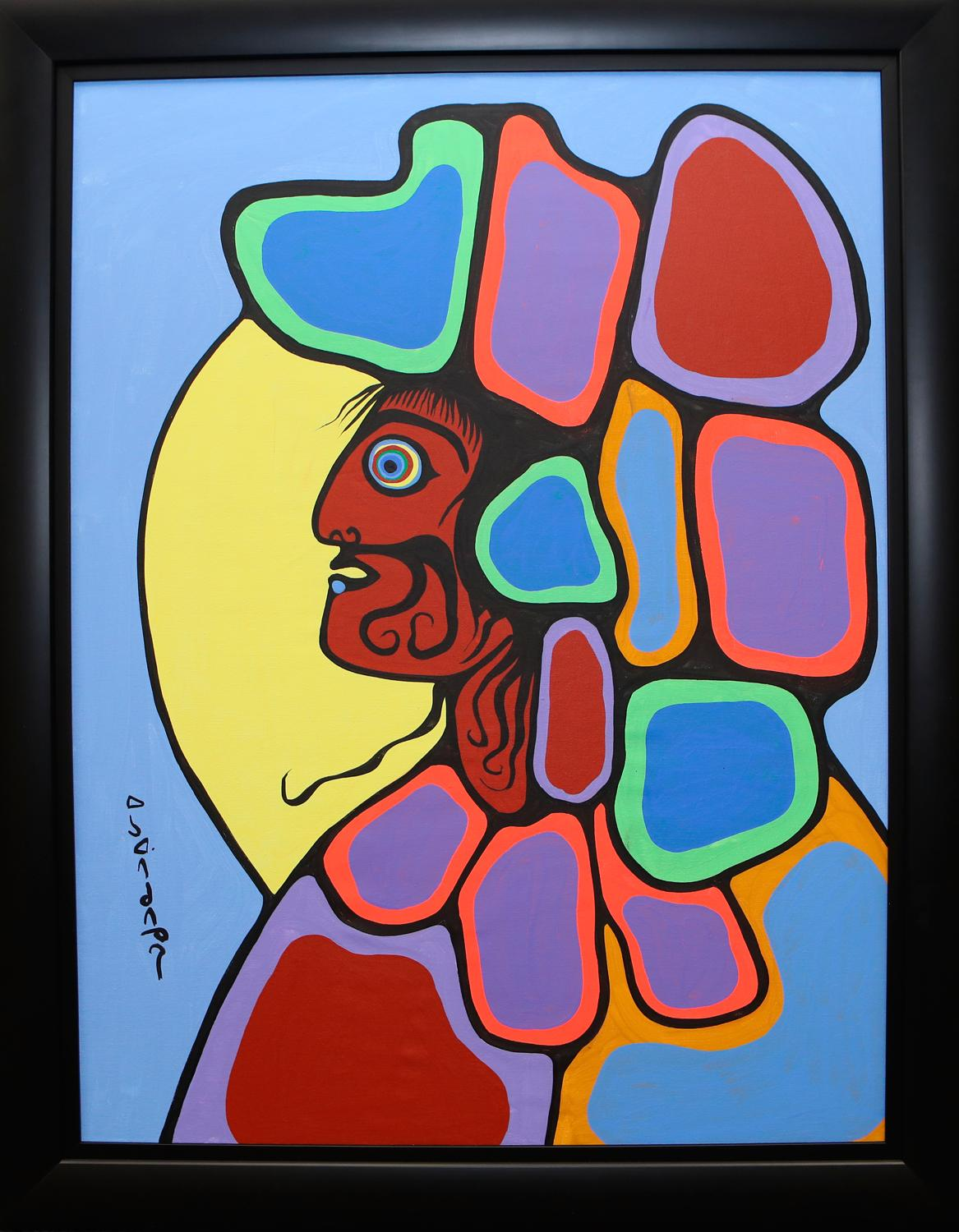 "Norval Morrisseau's ""Chief With Headdress"" Original Acrylic on Canvas Framed Painting"