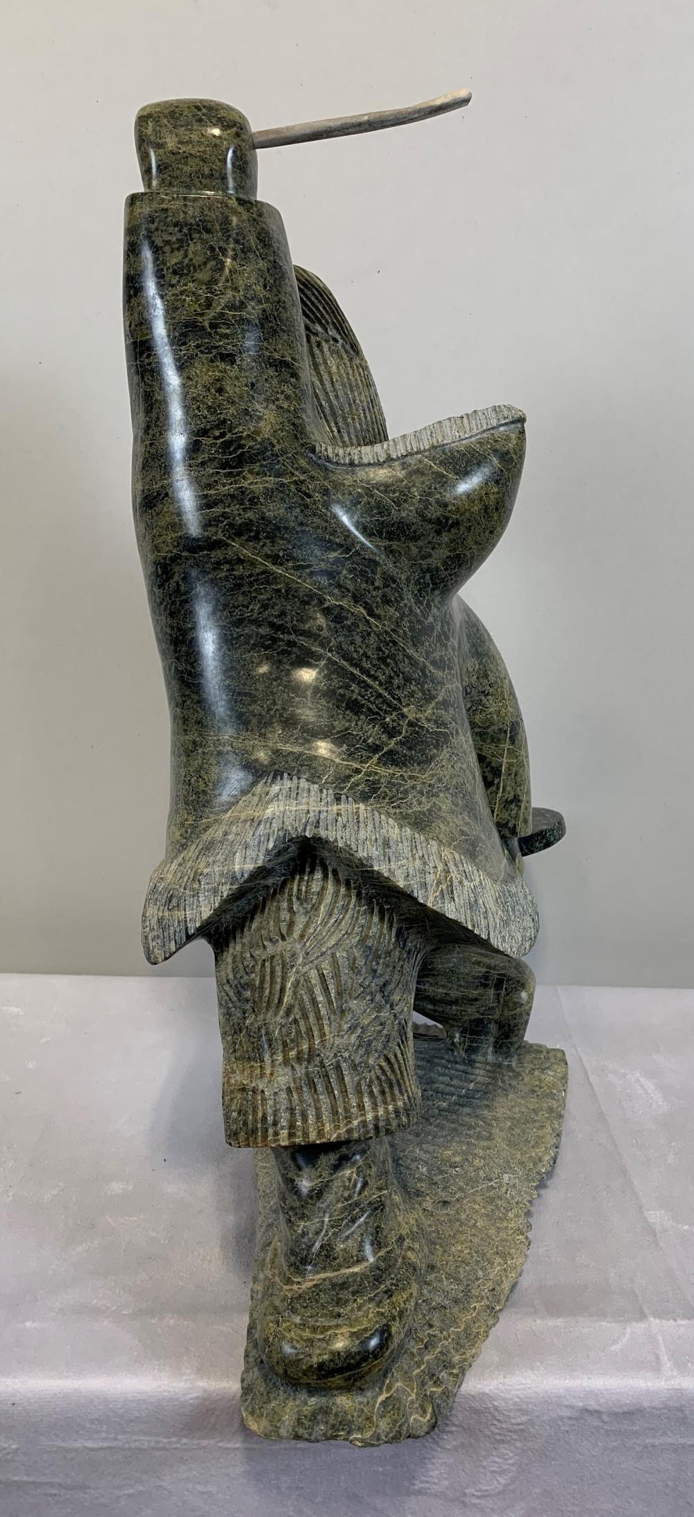 """Harley Veevee's """"Drum Dancer"""" Original Inuit Carving"""
