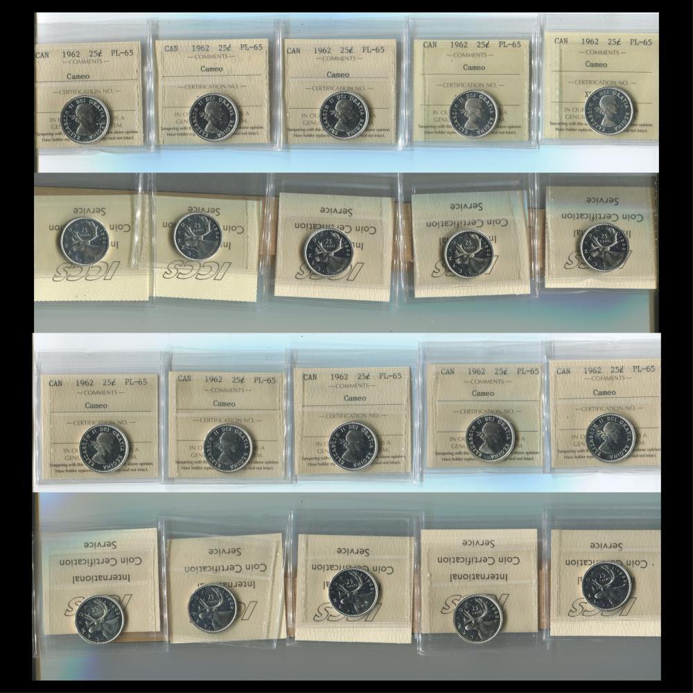 Canada 1962 25c PL 65 Cameo Coin Collection