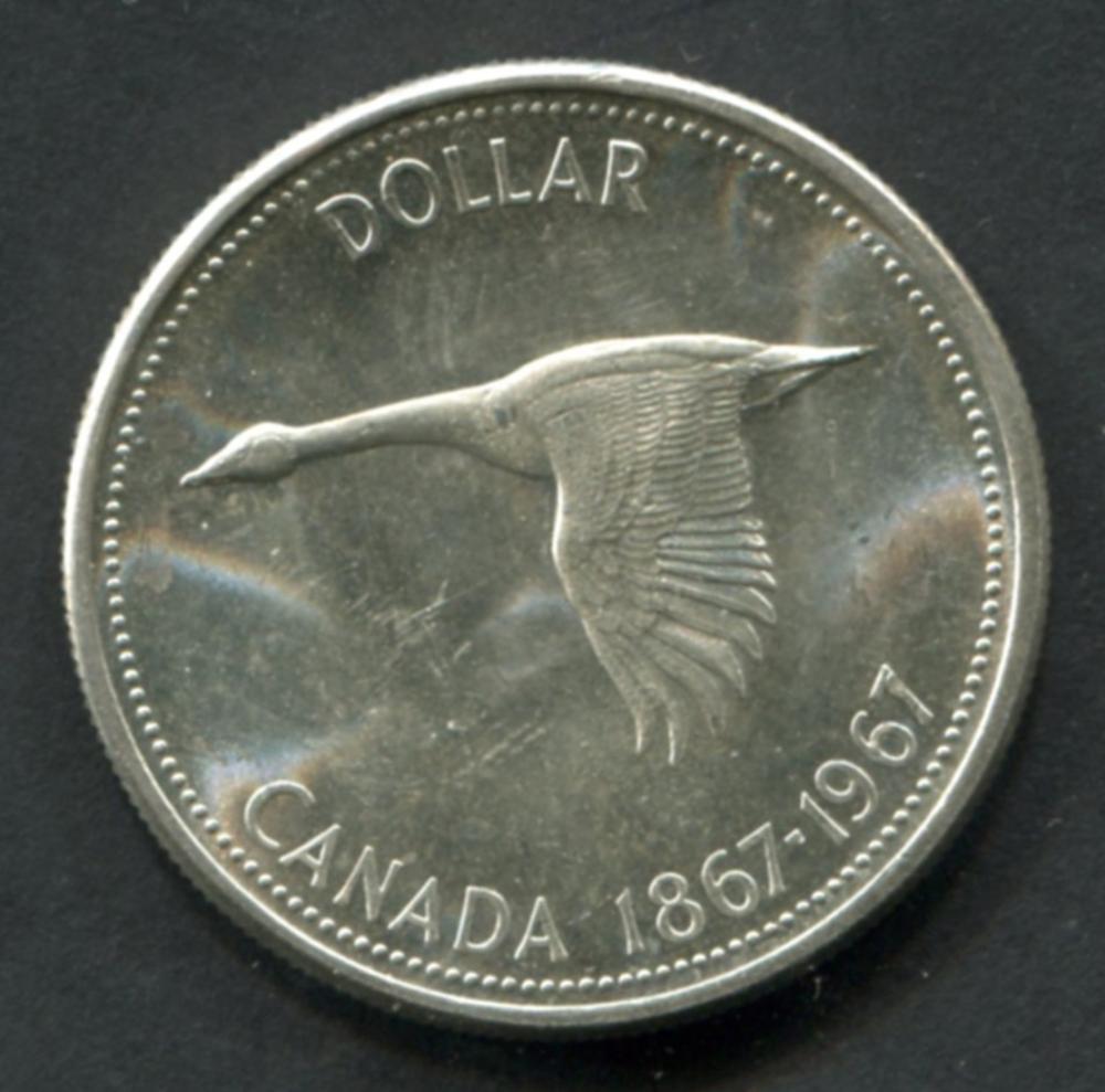 Canada 1967 Silver Dollar Rotated Die BU
