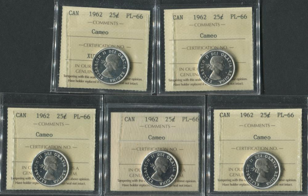 Canada 1962 25 Cent PL66 Cameo Coin Collection