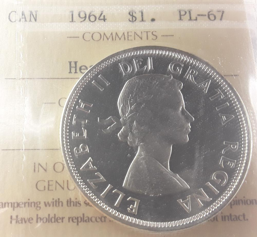 Canadian - 1964 Silver Dollar ($1) PL67 Heavy Cameo Coin