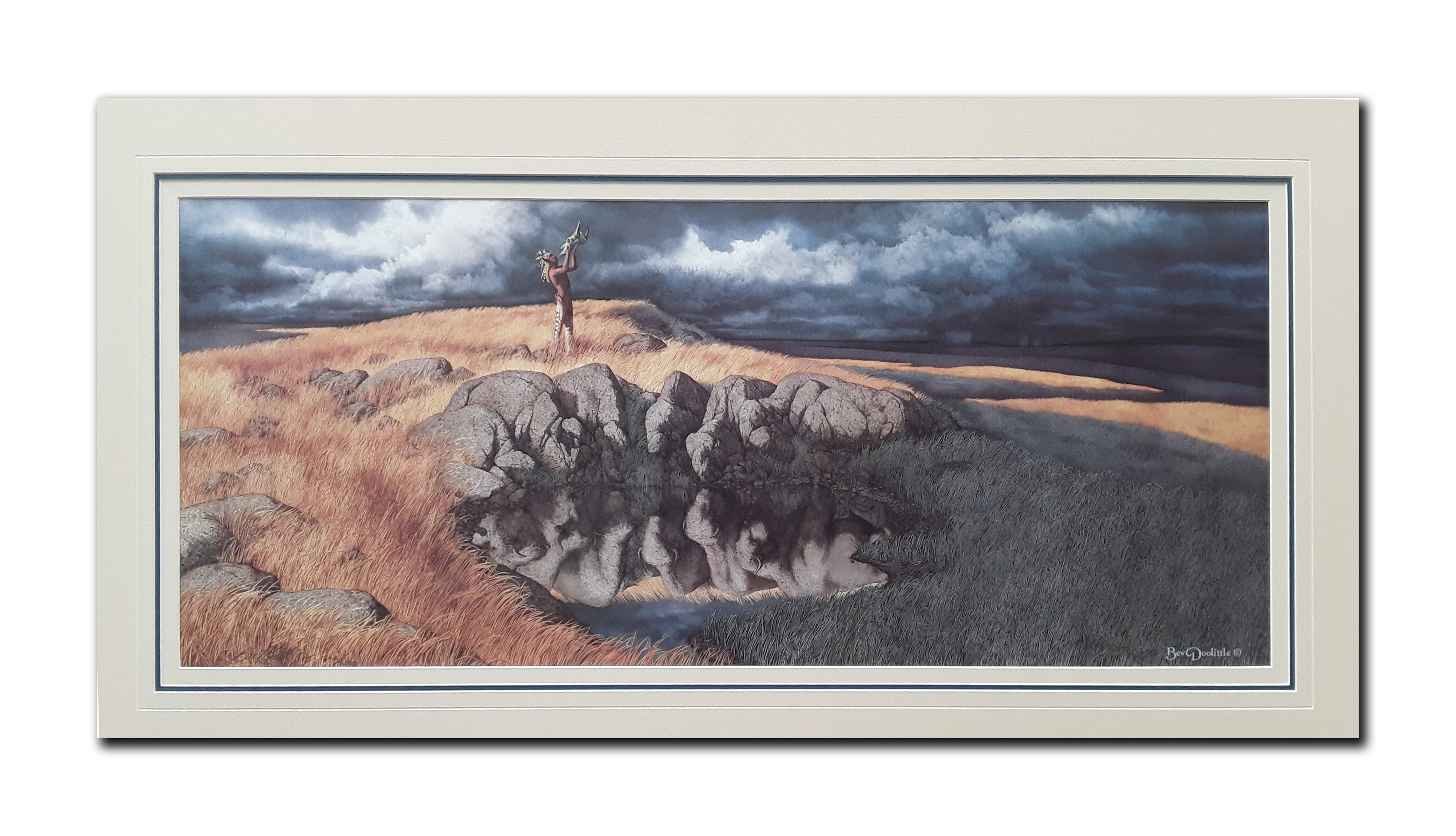 """Bev Doolittle's """"Calling The Buffalo"""" Limited Edition Matted Print"""