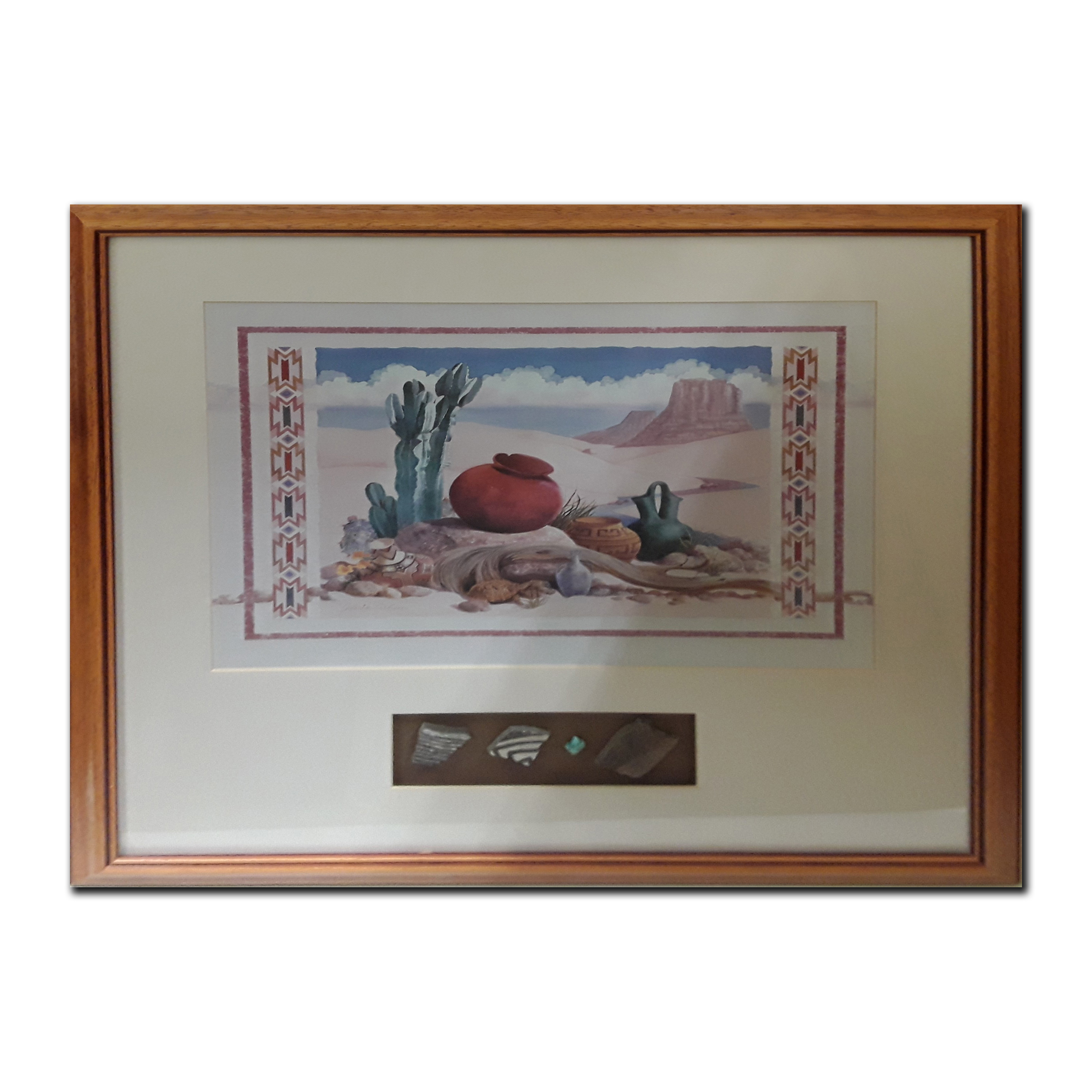 Native American Themed Framed Print With 4 Accompanying Native American Stone Artifacts (Art and Artifacts)
