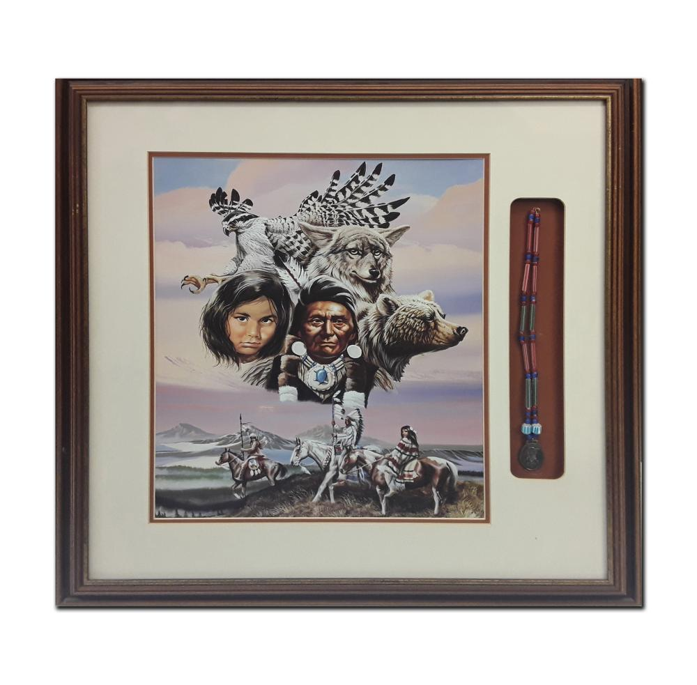 Native American Themed Print With Accompanying Necklace (Art and Artifact)