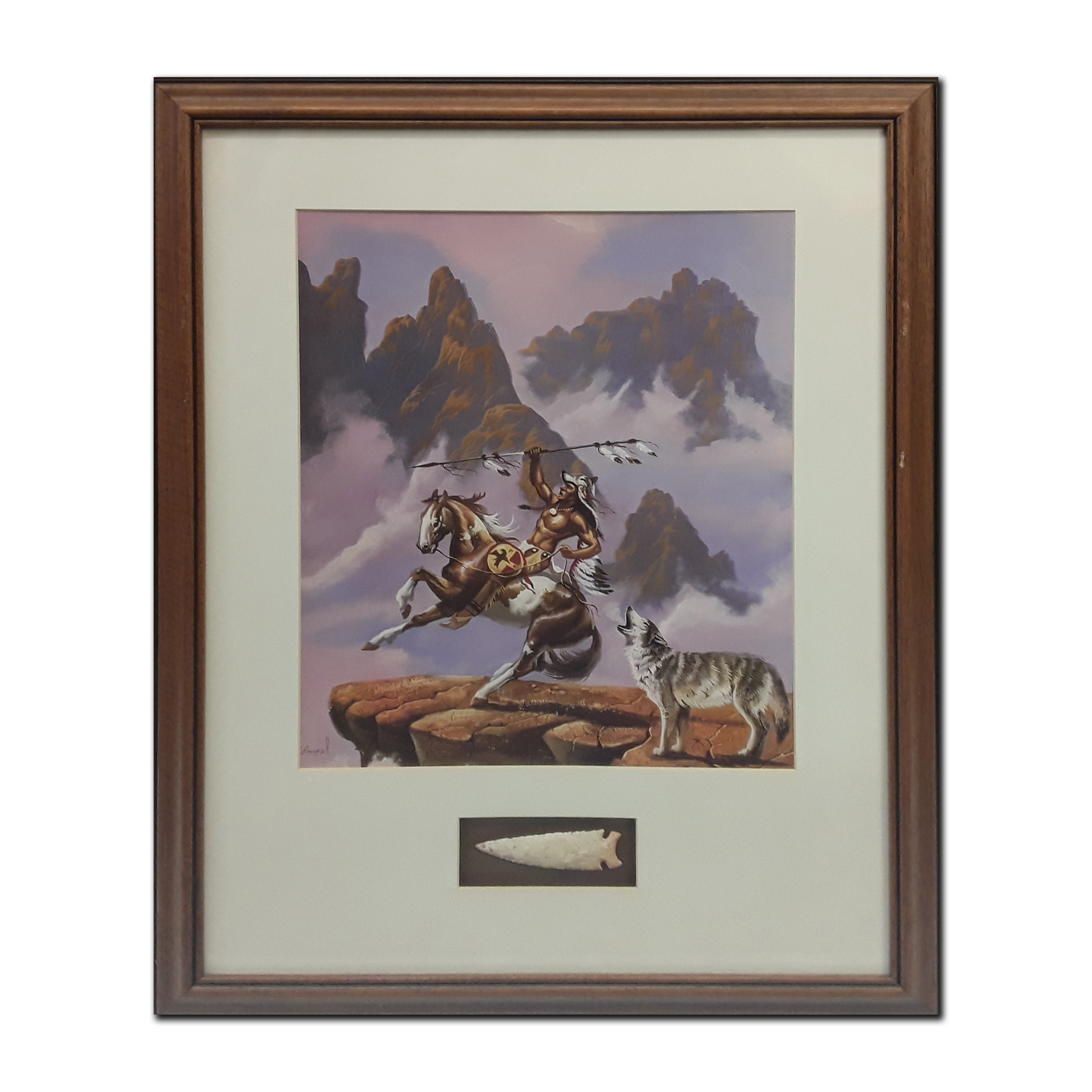Native American Themed Framed Print With an Accompanying Native American Arrow Head (Art and Artifacts)