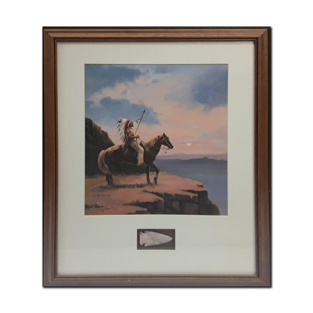 Native American Themed Framed Print With an Accompanying Native American Arrow Head (Art and Artifact)